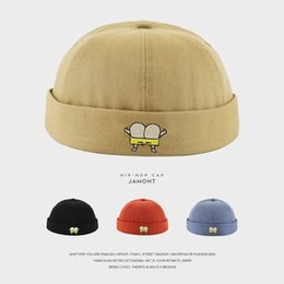 Discount wholesale biker caps - Street Casual Cotton Docker Sailor Biker Hat Loop Beanie Brimless Cap for Women Men Children Fashion Pumpkin Vintage Bea