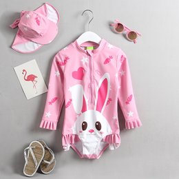 sunscreen cartoon Canada - Long Sleeve One Pieces Toddler Girls Swimsuit Cartoon Cute Children Swimwear Bathing Suit UPF50+ Sea Beach Sunscreen Wear