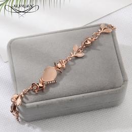 Left Handed Gifts NZ - New Korean Creative Hand Ornaments Women Opal Chain Link Bracelet For Women Trend Dazzling Opal Leaves Rose Gold Bracelet Gift
