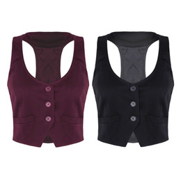 Vest racer back online shopping - Women Autumn Spring V Neck Button Down Fitted Racer Back Classic Vest Waistcoat Lady Office Wear Short Shirts Waistcoat
