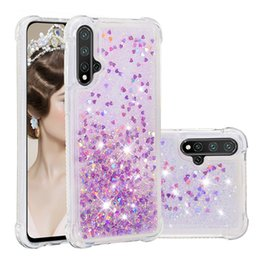 case color water proof Australia - Solid color fashion love sand shell for Huawei Nova 5 5pro all-inclusive tpu soft shell drop-proof glitter liquid phone case