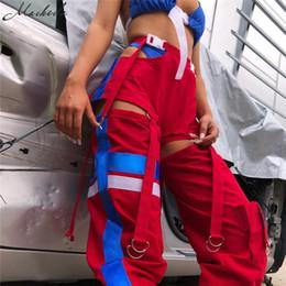 Side Split Trousers Australia - Macheda Women Fashion High Waist Side Hollow Out Pants Button Split Streetwear Sweatpants Womens Trousers Spliced Colour Pants Y190430