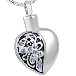 $enCountryForm.capitalKeyWord Australia - IJD8318 Flower Engraving Women Accessories Jewelry Cremation Necklace Silver Heart Urn Human Cremation Pendant Keepsake for Ash