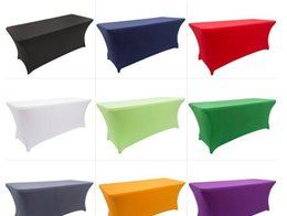 $enCountryForm.capitalKeyWord NZ - Elastic Lycra Table Cloth Rectangular Fitted Stretch Spandex Wedding Table Cover or Hotel Event Party Decoration