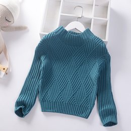 Baby Boy Winter Jumpers Australia - 2019 Autumn Winter New Boys Girls Sweater Fashion Baby Knitted Pullover Solid Kids Clothes High collar Children Thick Jumper Sweaters