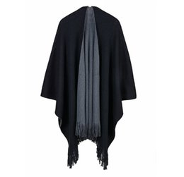 $enCountryForm.capitalKeyWord UK - Autumn and Winter European and American Fanjia Thick Simple Baitao AB Double-sided Open-forked Large Shawl Knitted Shirt Cloak Warp Knitted