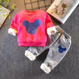 Wholesale Hot sales children s clothing sets baby boy girls winter fashion cartoon Plus velvet thicking warm casual sport suit