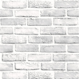 Discount wallpaper brick design for living room - Creative 3D Waterproof Brick Wall Stickers Self-Adhesive Nostalgic Wallpaper Caf