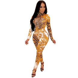 Floral imprimé léopard barboteuses femmes Jumpsuit manches longues Skinny Salopette One Piece club Party Bandage Sexy Bodycon Jumpsuit