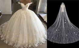 $enCountryForm.capitalKeyWord Australia - Vintage Vestidos De Novia Casamento 2020 Ball Gown Wedding Dress Lace Applique Off the Shoulder Short Sleeve Bridal Gowns Robe De Mariee tro