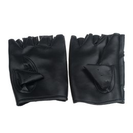 black leather gloves half fingers NZ - Fashion Women Men Fingerless Gloves motor Punk Gloves Touch Screen Black PU Leather Solid Female Half Finger Driving 2020 luva