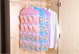 clothes hanger pink NZ - 16 Grids Foldable Wardrobe Hanging Bags Container Clothing Underwear Bras Socks Ties Hanger Shoes Storage Bag Drop Shipping
