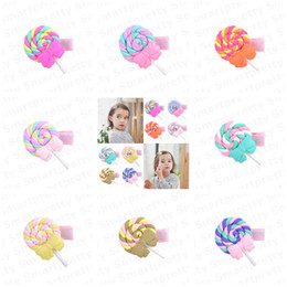 polymer clay babies UK - 1.3Inch Baby Girls Barrettes Polymer Clay Rainbow Lollipop Bobby Pin Princess Rainbow Hairpin 2020 Kids Candy Color Cloud Hair Clips E31201