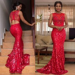 $enCountryForm.capitalKeyWord NZ - Red Lace Prom Dresses 2019 Mermaid Jewel Neck Bead Formal Evening Gowns Black Girls Quinceanera Sweet 16 Dress Cocktail Party Gown