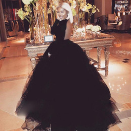Discount lavender fluffy prom dresses - Attractive Open Backless Prom Dress Jewel Neck Long Sleeves Fluffy Ball Gown Evening Dress Sexy Black Puffy Tulle Evenin