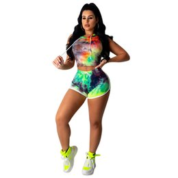 $enCountryForm.capitalKeyWord UK - Summer Women Shorts Traksuit Sleeveless Hooded T Shirt Crop Top + Shorts 2 Piece Set Tie-Dye Print T-shirt Outfits Bodycon Suit Clothes