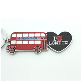 $enCountryForm.capitalKeyWord NZ - Metal Heart Souvenir Keychain   I Love London Mode Bus Key Chain   Paint Keychain Wholesa