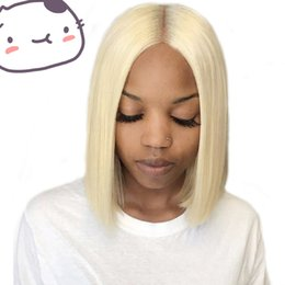 full lace wigs for white women 2019 - Unprocessed new remy soft smooth raw virgin human hair #613 medium bob natural straight full lace silk top wig for white
