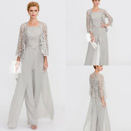 Silver grey wedding gownS online shopping - Grey Mother Of The Bride Dresses Women Jumpsuits With Jacket Strapless Chiffon Custom Made Wedding Guest Gowns Long Sleeve Lace Dress