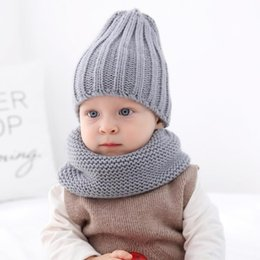$enCountryForm.capitalKeyWord NZ - Cross-border wish amazon new children's cap and scarf baby suit acrylic knit cap
