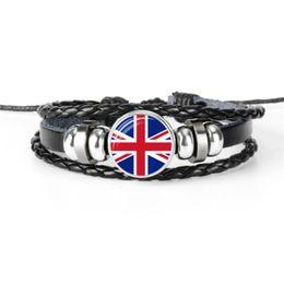 $enCountryForm.capitalKeyWord UK - Newest Fashion Glass Cabochon UK National Flag World Cup Football Fan Womens Mens Bracelet Bohemia Style Cowhide Leather Rope Beaded Jewelry