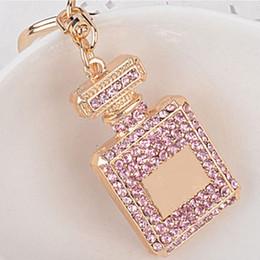 Korean Perfumes NZ - Korean Style Alloy Diamond Perfume Bottle Keychain Girls Fashion Bag Ornaments Car Pendant Bottle Keychain -P