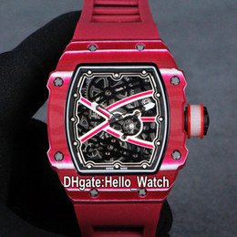 Discount sport watches red dials New 67-02 Miyota Automatic Mens Watch RM67-02 Skeleton Dial Rose Red White NTPT Carbon Fiber Case Rubber Strap Sport Watches Hello_Watch