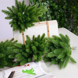 craft plastic flowers NZ - 50Pcs Artificial Pine tree branches plastic pine leaves for Christmas party decoration faux foliage fake flower DIY craft wreath