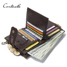 China Contact's Genuine Crazy Horse Leather Mens Wallet Man Cowhide Cover Coin Purse Small Brand Male Credit&id Multifunctional Walets Y19062003 supplier branded mens wallets suppliers