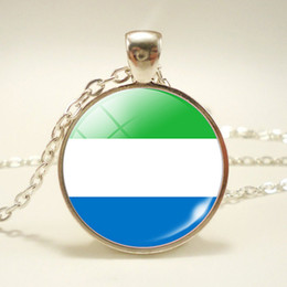 Silver Pendant Costume Australia - Round Pendant Silver Color Time Gem Glass Cabochon Sierra Leone National Flag World Cup Football Fan Necklaces For Women Men Costume Jewelry
