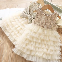 $enCountryForm.capitalKeyWord Australia - Fashion girls dresses pearl bows kids princess dress woolen tutu tiered girls dress kids designer clothes girls clothes high quality A7030