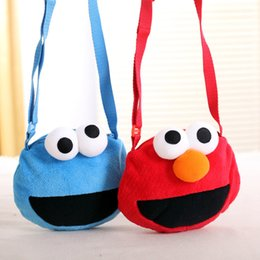 kids mini phones Canada - Hot Cute Mini Cartoon Plush Purses Kawaii Soft Sesame Street Elmo Cookie Monster Children Kids Satchel Bag For Girls Gifts