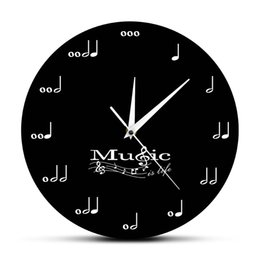 music wall hangings UK - Music Is Life Inspirational Wall Clock Music Notes Musical Clock Treble Clef Stave Music Studio Hanging Wall Watch Musician Gift T200601