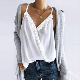 womens sleeveless tops NZ - 2019 Womens Sexy Lace Tops And Blouses V Neck Strap Sleeveless Blusas Tops Patchwork Casual Chiffon Camis