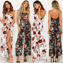 6c7e5269f39 Fashion Summer Women Romper Strapless Clubwear Playsuit Floral Black White  Party Jumpsuit Romper Long Trousers