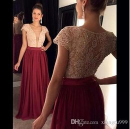 $enCountryForm.capitalKeyWord NZ - Burgundy Chiffon Turquoise Lace Sequins Prom Dresses Sexy Illusion Deep V-neck Short Sleeves Evening Gowns Simple Special Occasion Dress