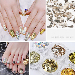 cellophane paper wholesale Australia - Tatyking Nail Cellophane Pieces Irregular Candy Paper Aurora Symphony Flash Silver Sequins Nail Stickers MJ0081