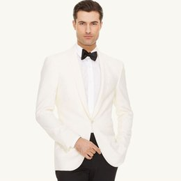 $enCountryForm.capitalKeyWord NZ - Ivory Groom Tuxedos Shawl Lapel Men Suits for Wedding Man Suits 2Piece Coat Pants Custom Made Cotume Homme Slim Fit Terno Masculino
