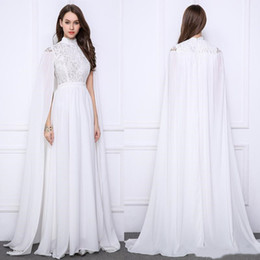 High Neck Ivory Chiffon Prom Dress Australia - Elegant White Evening Formal Dresses Long With Wrap A Line Lace Chiffon High Neck Cape Sleeve Saudi Arabic Caftan Celebrity Prom Party Gowns