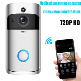 China 2019 NEW Smart Home V5 Wireless Camera Video Doorbell 720P HD WiFi Ring Doorbell Home Security Smartphone Remote Monitoring Alarm Door Senso cheap wireless voice home alarm suppliers