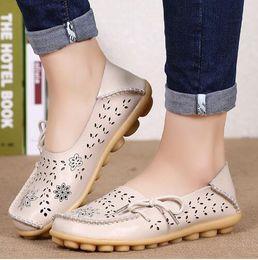Brown Ballerina Flats NZ - Women Flats Casual Shoes Women Genuine Leather Slip on Loafers Woman Soft Nurse Ballerina Shoes Plus Size 34-44
