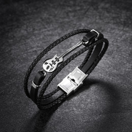 Guitar Traditional Australia - Multilayer Leather Bracelets for Men Rope Bangle Unique Stainless Steel Bracelet Guitar Bracelet