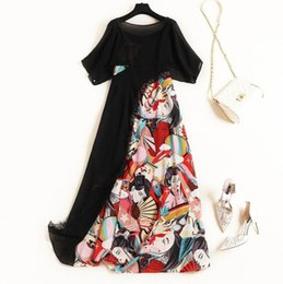 $enCountryForm.capitalKeyWord UK - Europe and the United States Women's clothing new for summer 2019 Black blouse Characters printed Condole belt dress two-piece