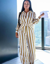Wholesale spot leg resale online – PD803 spot high end temperament Europe and the United States sexy new striped shirt wide leg pants two piece