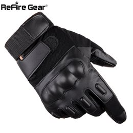 Bicycling Gear Australia - ReFire Gear Full Finger PU Leather Tactical Gloves Men SWAT Forces Army Gloves Shell Knuckle Combat Fight Bicycle Glove