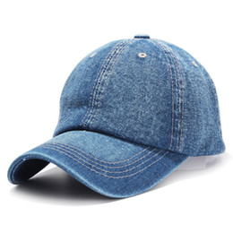 caps children baseball UK - Denim Baseball Caps Summer Boys Girls For Children Solid Cowboy Snapback Dad Hat Curved eaves Cap LJJJ112