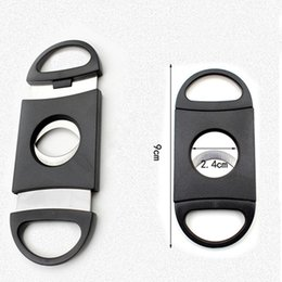 Black Cutters Australia - New Black Pocket Plastic Stainless Steel Tobacco Cutter Double Blades Cigar Knife Scissors Tobacco Smoking Accessories DH0144
