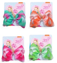 "$enCountryForm.capitalKeyWord Australia - Drop shipping 5"" Hair Bows For Girls WIth Clips Hairgrips Hair Accessories Kids Handmade Knot Jumbo Ribbed Ribbon JoJo Bows Hair Clips 8pcs"