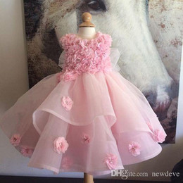 $enCountryForm.capitalKeyWord NZ - New Cheap Flower Girls Dresses For Weddings Jewel Neck Lace Blush Pink Birthday Dress Children Party Kids Girl Ball Gowns