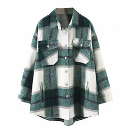Oversize Automne Hiver Plaid Jackets en vrac causales Checker simple boutonnage Streetwear Coat turn-down col Tops
